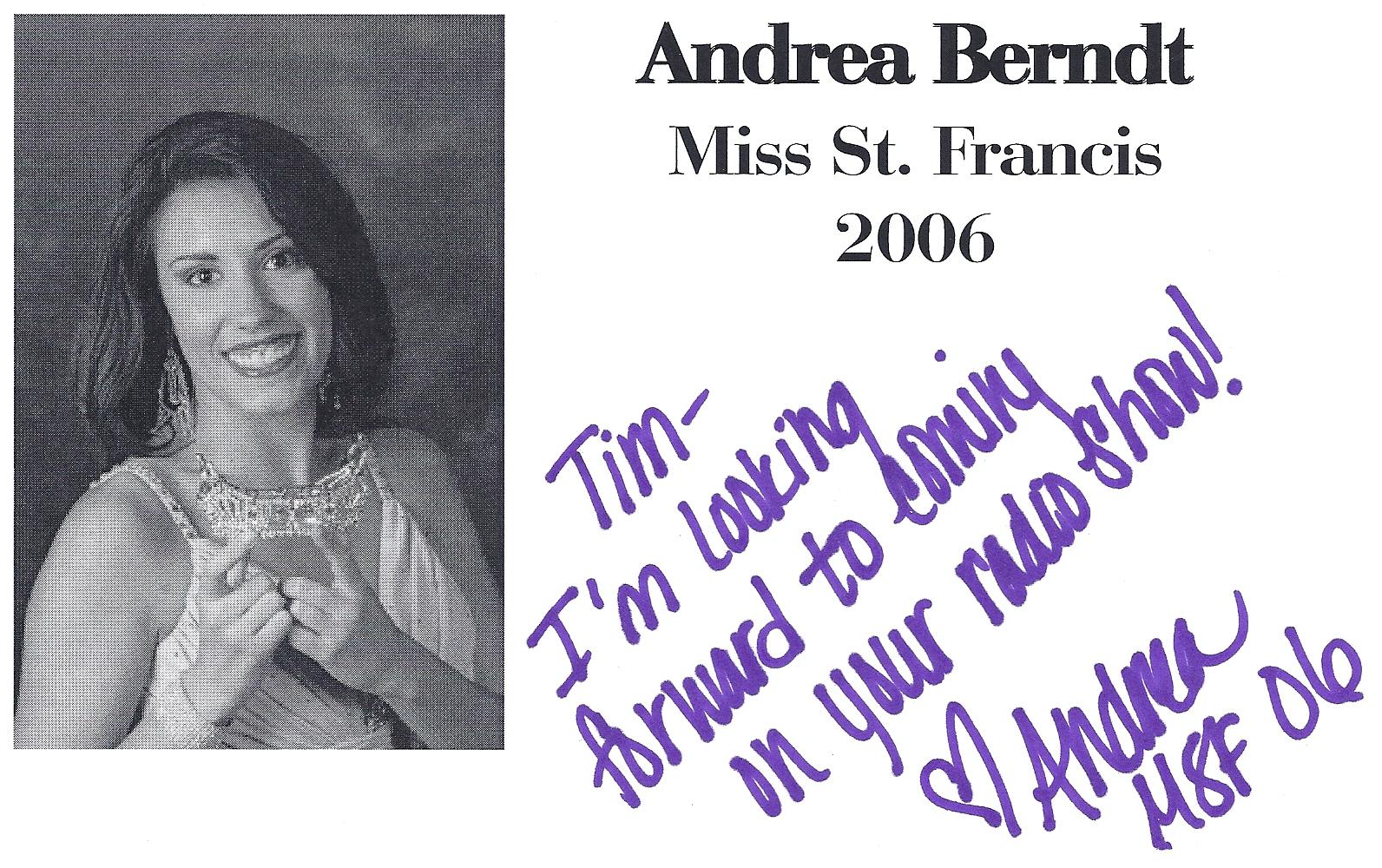 Andrea Berndt, Miss St. Francis 2006
