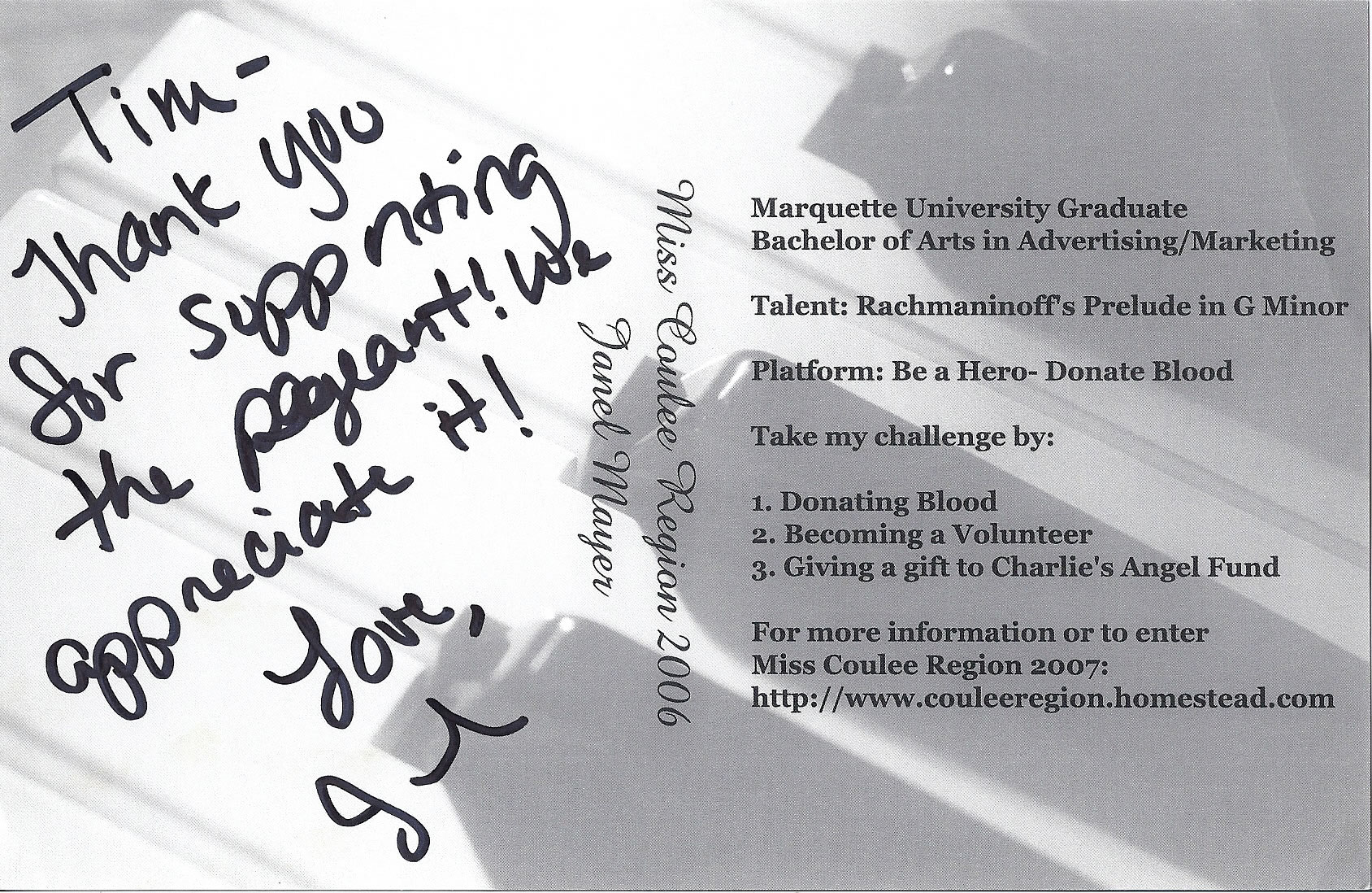 Janel Mayer, Miss Coulee Region autograph