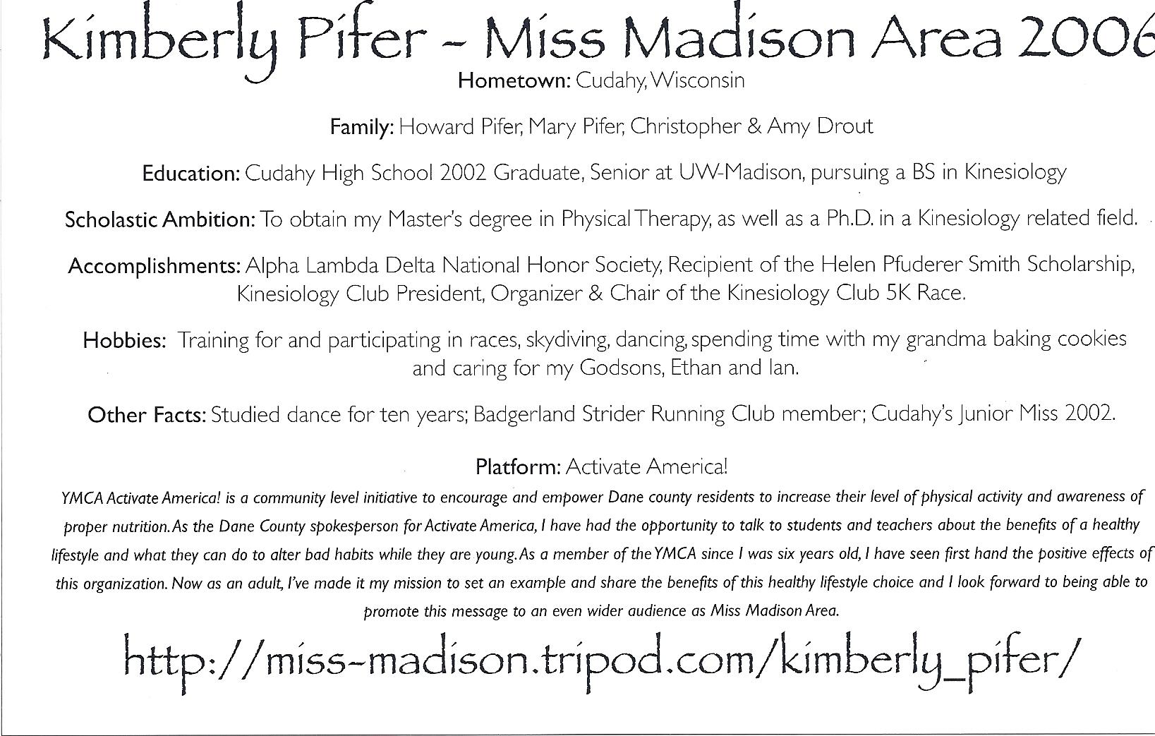 Kimberly Pifer, Miss Madison Area 2006